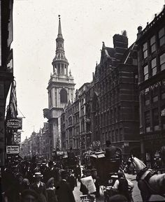 London England: Cheapside with St Mary Le Bow, 1910 Victorian London, Vintage London, Old London, East London, London Pictures, London Photos, London History, British History, London Bridge