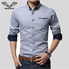 a9e52b803 VISADA JAUNA 2017 New Men Shirts Business Long Sleeve Turn down Collar 100%  Cotton Male Shirt Slim Fit Popular Designs N837-in Dress Shirts from Men's  ...