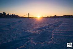 NIce sunny sunset over Rovaniemi city 19.1.2014.