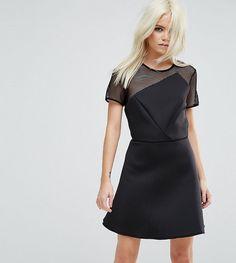 ASOS PETITE Scuba Skater Mini Dress With Mesh Panel - Black