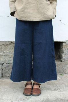 French antique indigo linen wide pants/cropped/over-dyed dark indigo/handmade/282