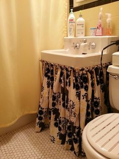 This Is Exactly Like Our Basement Bathroom Sink I D Love To Sew A Sink Skirt Not Loving This Fabric But Love The Skirt Basement Bathrooms Pinterest