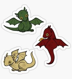 """""""Game of Thrones Dragons"""" Stickers by WildSally Dessin Game Of Thrones, Game Of Thrones Drawings, Game Of Thrones Tumblr, Game Of Thrones Facts, Game Of Thrones Quotes, Bolo Game Of Thrones, Game Of Thrones Instagram, Dragon Illustration, Dungeons And Dragons Dice"""