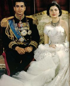 H.M. Mohamed Reza Pahlavi Shah of Iran & Queen Soraya on their wedding day in Tehran on 12 Feb 1951