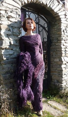 Recycled Dress, Nuno Felting, Dip Dye, Felt Art, Wearable Art, Wool Felt, Weaving, Fancy, Fashion Outfits