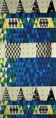 Sven Markelius, Pythagoras textile produced by Ljungbergs Textilyck for Nordiska Kompaniet, 1952 Textiles, Textile Patterns, Textile Prints, Textile Design, Color Patterns, Print Patterns, Geometric Patterns, Triangles, Retro Lounge