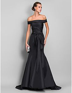 Trumpet/Mermaid Off-the-shoulder Sweep/Brush Train Taffeta E... – USD $ 98.99