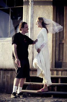 Quentin Tarantino and Uma Thurman on the set of Kill Bill: Vol 2