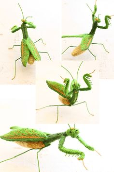 felt embroidery mantis  フェルト刺繍立体昆・カマキリ by PieniSieni