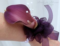 Plum purple calla lily wrist corsage pearl wristlet Wedding corsage Wedding accessories on Etsy, $22.00