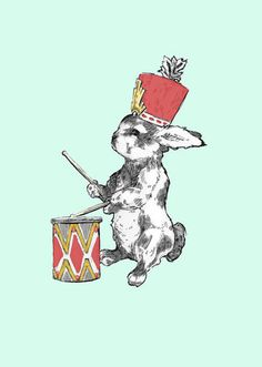 Bunny Drummer Canvas Art