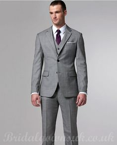 Grey 3 piece suit with purple tie. Love this.