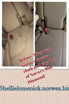 Get rid of stains in your car with water and a Norwex Enviro cloth. If that doesn't work, just a tiny dot of Norwex Blue Diamond along with the wet Enviro cloth will work.