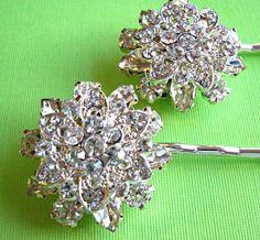 "Weddings Hair Pins, Bridal Accessories, Crystal Hair pins, Flower Hair accessories,""Floral Ice"" Collection. $29.50, via Etsy."