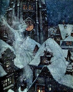"""On this Winter's Eve"" - Edmund Dulac's illustration for Hans Christian Anderson's 'The Snow Queen'"
