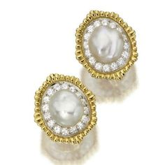 David Webb Diamond  & #pearl ear clips