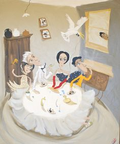 """Saatchi Art Artist Chris Wake; Painting, """"Cockatoo Saves Woman In Spotted Dress"""" #art (JT)"""