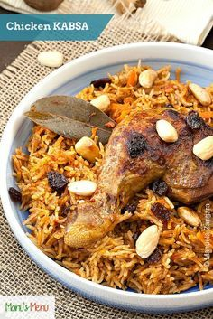 Chicken Kabsa - an exotic Saudi rice dish served with raisins and almonds / Ethnic / Creative / Middle East / Dinner / Meal / Poultry / Make with or without rice Zatar Recipes, Rice Recipes, Cooking Recipes, Recipies, Dessert Recipes, Kabsa Recipe Chicken, Chicken Recipes, Middle East Food, Middle Eastern Recipes