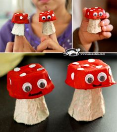 Eggbox creations - mushrooms. www.suusisonline.nl
