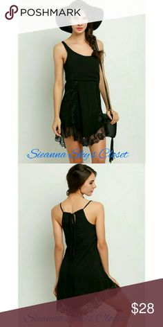 Gorgeous black dress with lace trim This is such a beautiful black dress with lace trim.  Perfect for this season. Material is polyester /lace. Price is firm unless bundled. boutique Dresses Midi
