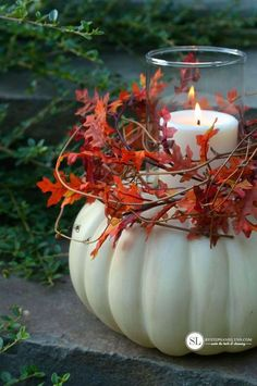 DIY Pumpkin Candle Holder #michaelsmakers