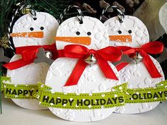 Christmas Happy Holidays Embossed SNOWMAN by StephanieMatsunaka, $5.25