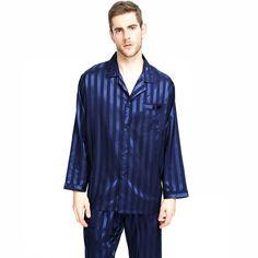e553982b3230 Mens Silk Satin Pajamas Set Sleepwear Loungewear Striped S~4XL Plus - Navy  Blue Striped - CR12EYTDDIP
