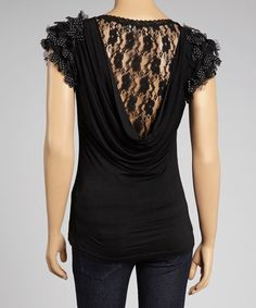 Love this Black Lace-Back Ruffle-Sleeve Top on #zulily! #zulilyfinds