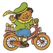 Zwarte piet op fiets