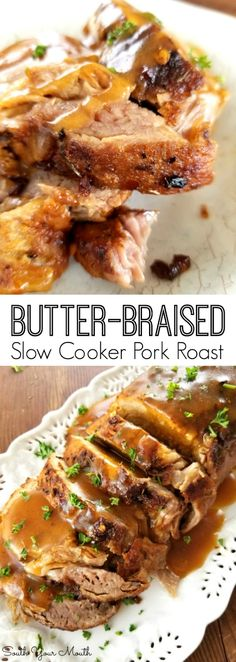 Butter-Braised Slow Cooker Pork Roast - - A fork-tender pork loin drenched in sizzling butter seasoned with Cajun spices cooked to crispy perfection in the crock pot. Slow Cooker Pork Roast, Pork Roast Recipes, Pork Tenderloin Recipes, Crock Pot Slow Cooker, Pork Roast Crock Pot, Pork Roast With Gravy, Pork Roast Seasoning, Pork Loun, Cajun Seasoning
