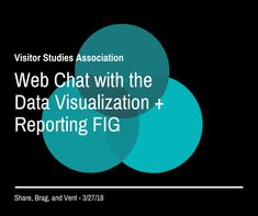 Web Chat: Share, Brag, Vent with Visitor Studies Association's Data Visualization + Reporting Focused Interest Group Featuring discussion leaders: Kate Livingston, Lauren Wilson, and Claire Quimby Lauren Wilson, Interest Groups, Livingston, Data Visualization, Fig, Claire, Study, Studio, Livingstone
