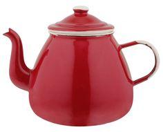 Imbryk do herbaty i ziół CZERWONY Nostalgia- szkoda trochę,  że bez kropek