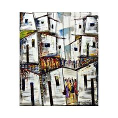 NOVICA Signed Original Modern Painting of a Brazilian City (6.600 CZK) ❤ liked on Polyvore featuring home, home decor, wall art, expressionist paintings, paintings, white, white home decor, modern paintings, mod home decor and white paintings