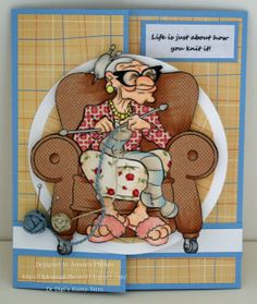 """Knitty Nora"" digi stamp http://www.doctor-digi.com/knitty-nora-digital-stamp Card by Amanda http://oldenough2beakid.blogspot.co.uk/2013/08/good-monday-morning.html"