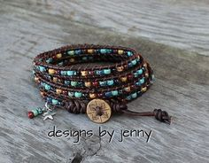 Leather Wrap Bracelet For Women , Beaded Wrap Bracelet, Leather Wrap Bracelet, Womens Leather Bracelet, Mens Leather Wrap Bracelet by hodgepodgecandles on Etsy Hemp Bracelets, Beaded Wrap Bracelets, Leather Bracelets, Leather Jewelry, Jewelry Bracelets, Bohemian Jewelry, Diy Jewelry, Handmade Jewelry, Jewelry Making