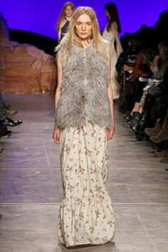 Band of Outsiders Fall '12  Fur Vest and Printed Dress