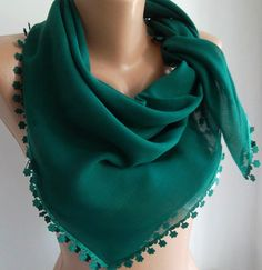 Green  Shawl with Lace  Turkish Shawl  Anatolians Scarf  by womann, $15.90