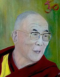 erstes Dalai Lama Portrait in Öl   30 x 40 cm auf Leinwand