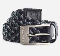 "Under Armour Braided Golf Belt Black Grey Nylon Leather 1267067-002 UA $40 34"" w"