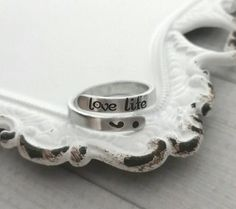 Semi colon wrap ring, personalized wrap ring, love life ring