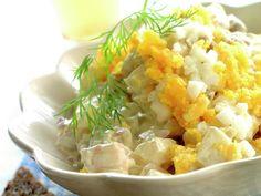 Sildesalat med egg Bagels, Other Recipes, Hot Sauce, Potato Salad, Shrimp, Grains, Rice, Potatoes, Eggs