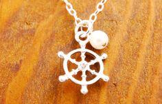 Ship Wheel Necklace  beach necklace ocean necklace by MegusAttic, $28.00