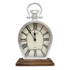 Stratton Home Decor Figaro Silver/Brown Metal/Wood Tabletop Clock (8.50 X 4.00 X 14.75)