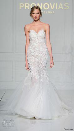 pronovias 2016 bridal gowns beautiful mermaid wedding dress strapless sweetheart neckline lace beaded embroidery style veranda