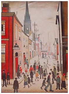 """LS Lowry - """"The Organ Grinder"""" Salford. I always feel inspired when I look at his matchstick men. Salford, English Artists, Chef D Oeuvre, A Level Art, Art Uk, Naive Art, Art For Art Sake, Your Paintings, Most Famous Paintings"""
