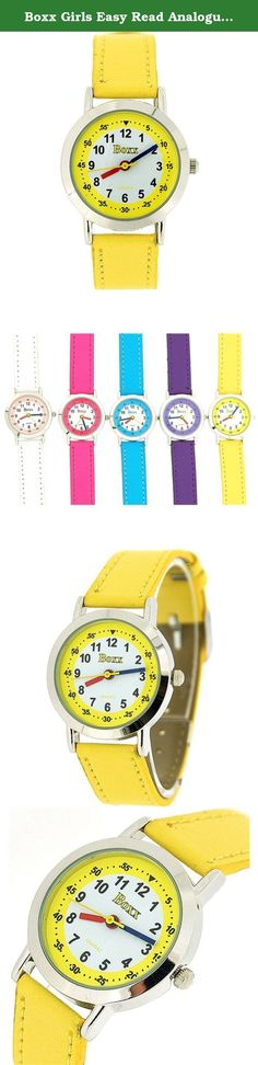 Boxx Girls Easy Read Analogue White Dial & Yellow Fabric Strap Buckle Watch. A simple and sturdy wrist watch for girls,' this is a high functioning timepiece which is suitable for every day wear. This watch is the ideal gift for her. Product Features: * Quartz Movement. * Black minute hand, red hour hand and yellow second hand. * White and yellow dial. * Stainless steel case back. Strap Measurements: This watch fastens with a buckle on any of the 6 holes. * Length from one end of strap…