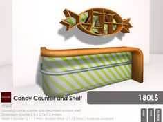 Ready for a Candy Counter? Than you find four candy styled counter waiting at Candy Fair, currently running in Second Life.  Each counter also includes the matching bonbon shaped shelf.  The styles avaialbale are: mint, pink, orange and yellow