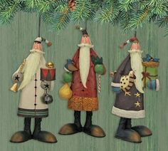 12 Days of Christmas Santa Ornaments Set of Three : The Official Williraye Studio Store, Folk Art Collectibles and Figurines Noel Christmas, Father Christmas, 12 Days Of Christmas, Vintage Christmas, Santa Pictures, Carving Designs, Santa Ornaments, Reno, Christmas Printables