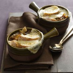 Light French Onion Soup: Traditional #FrenchOnionSoup is made with fatty, salty beef broth but this #healthy #recipe is low-sodium and cuts back on butter while staying packed with flavor. #soup #autumn | Health.com