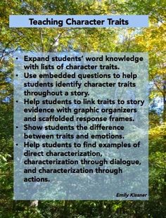 Ideas for teaching about character traits
